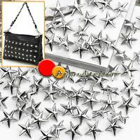 100 X Silver Metal 15mm Leathercraft DIY Star Shape Studs Spots Spikes Rock Punk