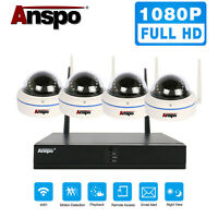 Anspo 4CH HD 1080P CCTV WiFi NVR 2MP Dome Wireless Home Security Camera System