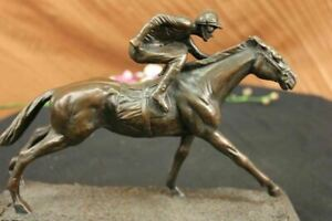 100% Bronze Sculpture Original  Signed Statue Of Jockey& Race Horse Office Troph