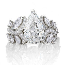 Certified 4.25Ct White Pear Cut Solitaire VVS1 Engagement Ring 14K White Gold