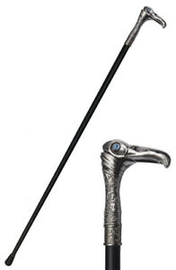 Cane Black And Silver 93cm Skull Of Raven Gothic steampunk