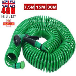 Retractable Coil Garden Hose Pipe 7.5M/30M Reel with Water Spray Gun Nozzle UK
