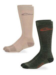 Drake Mens Merino Wool & Moisture Wicking Ribbed Liner Tall Boot Sock System 2PK