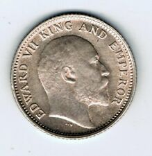 1910 India 1/4 Quarter Rupee silver coin : 2.9g