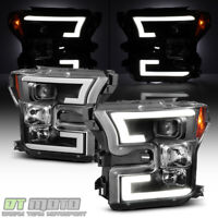 2015 2016 2017 Ford F150 Black Dual LED DRL Tube Projector Headlights Headlamps