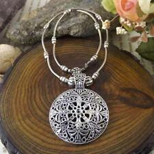 Women Vintage Tibetan Silver Flower Round Shield Pendant Choker Collar Necklace