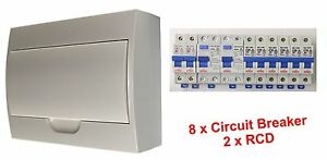 Complete 12 Pole Distribution Switchboard Safety Switches - 2 x RCD / 8 x MCB
