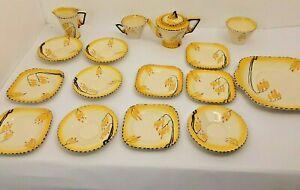 Burleigh Ware Zenith Wisteria Tea Set Art Deco Rare 1930s 16 Piece Cup Saucer