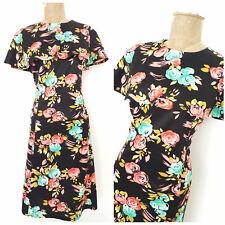 Vintage 80s Rockabilly Dress Size Medium Pinup Cocktail Party Mini Floral Cape