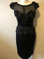 Karen Millen Black Silk Dress Size 10 Peplum Sweetheart Ruffle Pencil Wiggle