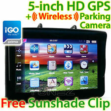 "NEW 5"" GPS Car Navigation Tunezup Wireless Reversing Camera Sat Nav iGO Primo"