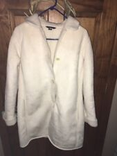 Lands End Womens M/P 10-12 Winter White Faux Suede Like 3/4 Length Coat