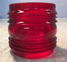 "Vintage Kopp Red Glass Fresnel Railroad Lantern Globe 3 3/8 x 3 1/4"""