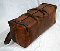Leather Outdoor Duffel Gym Bag Travel Weekender Overnight Luggage
