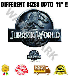 Jurassic World Logo Badge Wafer Icing Cake Topper