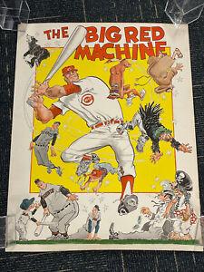 Original 1970s Willard Mullin Big Red Machine Cincinnati Reds lithograph print