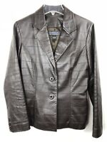 Harolds Leather Jacket Dark Brown Coat Womens Size Small Lined Blazer