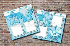 Baby Boy Shower Blue 2 PRINTED Premade Scrapbook Pages BLJgraves 47