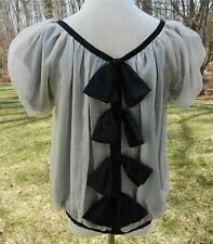 RYU Cream Sheer SS Top with Black Lining and Black Ribbon Ties in Back Sz S NWT