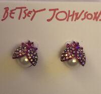 Betsey Johnson Pink Crystal & Faux Pearl Ladybug Stud Earrings NWT