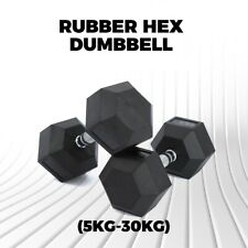 Rubber Hex Dumbbell Fitness Home Gym Strength Weight Training 10KG - 30KG