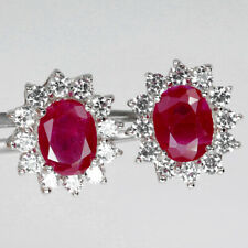 OVAL CUT 9 X 7 mm. PIGEON BLOOD RED RUBY 6.0 ct. STERLING 925 SILVER EARRINGS