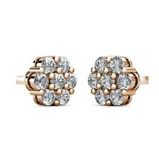 1Ct Natural Diamond Flower Shaped Halo Cluster Stud Earrings 14K Rose Gold 7mm