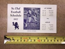 1927 ST OLAF FOOTBALL SCHEDULE SATTERLIE PHOTO THICK CARDBOARD
