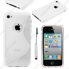 Housse Etui Coque Silicone S-line Transparent Apple iPhone 4S 4 + Mini Stylet