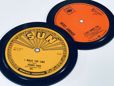 More details for johnny cash - 2 record label coasters. i walk the line. a boy named sue. sun