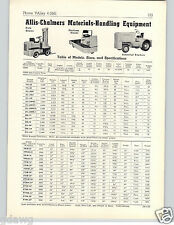 1957 PAPER AD Allis Chalmers Tow Motor Fork Lift Platform Truck Ind Tractor