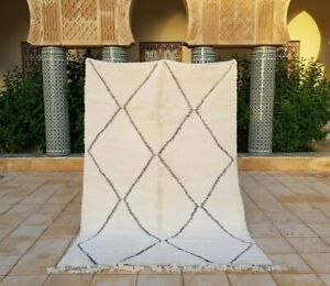 """Beni ourain Rug 7'8""""x5'3"""" Ft Moroccan Rug Handmade Authentic Wool Carpet"""
