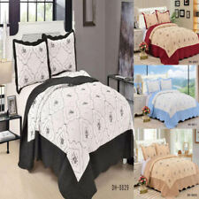 Bedspread 3 piece Embroidered Bedspread Quilted Bed Spread Comforter Set Size