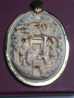 Antique Chinese Export Carved Gold Frame Pendant