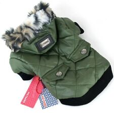 Hundebekleidung Hundejacke Hundemantel Khaki Grün Winterjacke XL Luxus Warm Fell