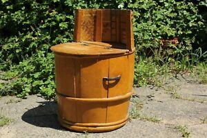 Vintage Wooden Barrel Chair Stool Storage Tub Mid Century Handmade Bar Mancave
