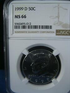 1999-D 50C KENNEDY NGC GRADED MINT STATE 66