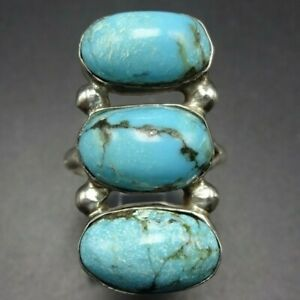 Vintage NAVAJO Sterling Silver TURQUOISE RING size 7.5 Three Oval Cabochons