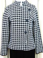 ZARA Size Large Black & White Jacket/Coat Mandarin Collar Wool Blend