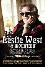 Leslie West 2016 New York Concert Tour Poster- Hard / Blues Rock Music, Mountain
