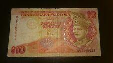 Malaysia Jaafar Jaffar Hussein Banknote signature RM10 prefix QU  tears F Fine