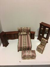 Bespaq Dollhouse Rose Ribbon Park Avenue Bedroom Furniture Set Bed Armoire