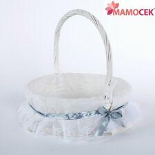 CESTO nascita VIMINI bianco tondo c35 porta bomboniere cestino confezioni Shabby
