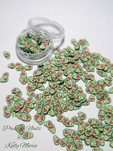 Avocado Fimo Clay Slices Slime Crafts Embellishments Shaker Cards Valentines