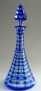 Victorian C19th Cobalt Blue Cut To Clear Faceted Glass Tall Scent Bottle