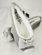 Pretty You of UK Ballet Style Slippers Delta Plum Velvet w Bow US Sm 5-6  Indoor