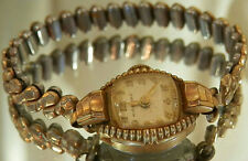 Hydepark Gold Fill Vintage 40's Curved Crystal Deco Wind Up Watch WORKS! 175D6