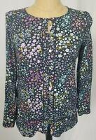 J.Jill Top Small Black Purple Blue Floral Long Sleeve Button Up Peplum Hem Shirt