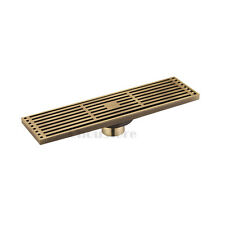 Antique Brass Large Traffic Long Bathroom Floor Shower Drain Linear Grate SOLID