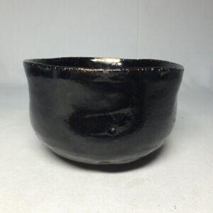 D1316: Japanese tea bowl of real old KURO-RAKU pottery with very good atmosphere